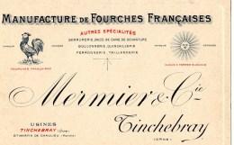 TINCHEBRAY - Carte Commerciale Des Ets Mermier Et Cie Tinchebray - 688 - Cartes De Visite