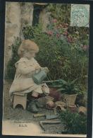 """ENFANTS - LITTLE GIRL - MAEDCHEN - Jolie Carte Fantaisie Portrait Fillette Avec Fleurs Et Arrosoir """" HORTICULTURE """" - Portraits"""