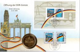 "(Gm3) A5-BRD Numisbrief ""Öffnung Der DDR-Grenze"" 6.11.1990 Berlin Mit Medaille B.T.verg.(Münze)+50+100Pf 1990, Block Gre - [ 7] 1949-… : RFA - Rép. Féd. D'Allemagne"