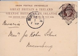 UPU Von Lombard Street  London Nach NÜRNBERG Am 13.1.1883 - 1840-1901 (Victoria)