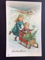 AK Weihnachten KINDER Schlittenfahren  GEPRÄGT Ansichtskart  1913 - Weihnachten