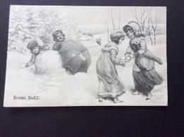 AK Weihnachten MÄDCHEN KINDER Mit Schneeball  JUGEND KARTE ,V.K. VIENNE Nr. 5302.  Ansichtskart  1908 - Weihnachten