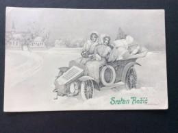 AK Weihnachten MÄDCHEN  Auto Voller Geschenke Auf Dem SCHNEE  JUGEND KARTE , V.K. VIENNE Nr.5300.Ansichtskart  1902 - Weihnachten