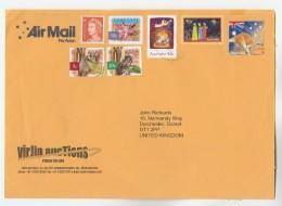 2004 Air Mail AUSTRALIA COVER Franked 7 X STAMPS , Possum Owl Bird Christmas Flower Etc To GB Birds - 2000-09 Elizabeth II