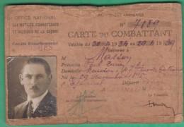Carte Du Combattant - Fait à Epinal (Vosges) En 1934 - Domicilié à Meudon - Documents