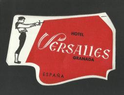 Etiquette Valise Hotel Versailles Granada Torero Corrida Espagne España Spain Bullfight  Bullfighter Luggage Label - Hotel Labels