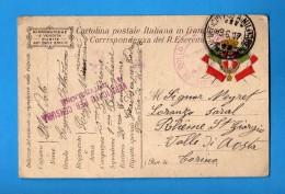 CARTOLINA POSTALE ITALIANA IN FRANCHIGIA -  1917 Prov Di UDINE ZONA Di GUERRA.  Vedi Descrizione. - 1900-44 Vittorio Emanuele III