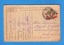 CARTOLINA POSTALE ITALIANA IN FRANCHIGIA -  1917 Compagnia Di Marcia OSTIA ZONA Di GUERRA.  Vedi Descrizione. - 1900-44 Vittorio Emanuele III