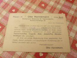 Otto Hannemann Plauen Asch As Czech Republic Böhmen Germany Magyar Köztarsasag 1918 Stamp Hungary Postkarte Postcard - Böhmen Und Mähren