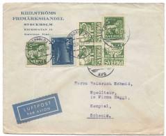 SUEDE, SWEDEN, 1934, Lettre Poste Aérienne, Airmal Cover, POSTSPARBANKEN1884-1934, Pour La Suisse, Switzerland - Sweden
