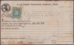 REP-43 CUBA  RECIBO DE CUBAN TELEPHON Cº. 1936. REVENUE STAMP 5c TIMBRE NACIONAL. - Timbres-taxe