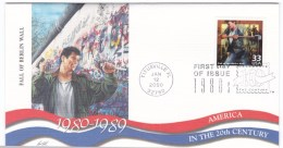 Sc#3190k Fall Of Berlin Wall, Communism Collapses 1980s Celebrate The Century FDC First Day Of Issue 2000 Cover - Premiers Jours (FDC)