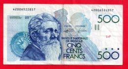 Belgique - Billet Circulé De 500 Francs Belges ... ( Ref -- 3963 ) - Belgium