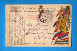 CARTOLINA   FRANCHIGIA -  Battaglione AOSTA-GORIZIA  Zona Di Guerra. Timbro  09/07//1919  Vedi Descrizione. - 1900-44 Vittorio Emanuele III