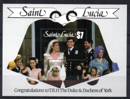 St Lucia - 1986 - Royal Wedding (2nd Issue) Miniature Sheet - MNH - St.Lucie (1979-...)
