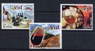 CUBA 2002, VINS, VERRES, FUTS, VIGNES, 3 Valeurs, Oblitérés / Used. R1614 - Wein & Alkohol