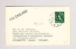 FÄRÖER  THORSHAVN 18.1.1954 Mit 1 1/2d Queen Auf Karte Nach Chelmsford Essex GB - Féroé (Iles)