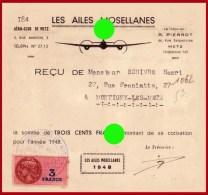 AERO-CLUB DE METZ  Moselle LES AILES MOSELLANES Aviation Parachutisme Vol à Voile 1948 - Cartes