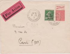 Lettre De 1930 Avec Semeuses  Niort Exposition Arrivée Paris Gare Du Nord -avion - 1927-1959 Storia Postale