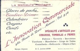 SOMME - 80 -  AMIENS - Carte De Visite Commerciale - L'inovation Commerciale Rte De Paris - A Circulé En 1935 - Non Classés