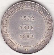 Jeton En Argent De 1875. Compagnie Des Agents De Change La Bourse De Paris 1875. Par BORREL - Professionnels / De Société