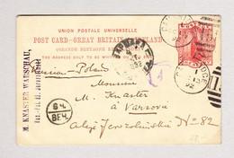 GB Cambridge 13.10.1892 Auf One Penny Ganzsache Nach Varsovie Polen - 1840-1901 (Victoria)