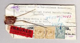 """GB BRIDPORT 23.10.1918 Gepäck Etikette Mit """"Valeur Déclarée"""" Kleber Nach Lausanne - 1902-1951 (Rois)"""