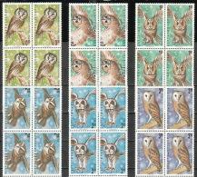 BULGARIA 1992 FAUNA Animals NIGHT BIRDS Of  PREY - Blocks Of 4 MNH - Unused Stamps