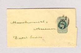 """GB Streifband Halfpennygestempelt """"FB"""" Von London Nach Indonesien Ankunfts-Stempel Makasser 4.2.1902 - Lettres & Documents"""