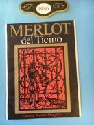 1441 - Suisse Tessin   Merlot Del Ticino  1986 Mendrisio - Etiquettes