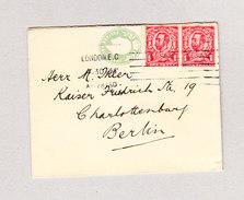 GB London 28.4.1913 Halfpenny GS Ausschnitt König Edward VII Mit 1Penny (2) George V Auf Damenbrief Nach Deutschland - Lettres & Documents