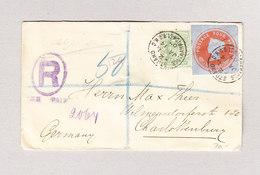 GB GS Ausschnitt 4d Mit Halfpenny Auf R-Brief 14.1.1907 Nach Charlottenburg - Lettres & Documents