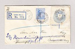 GB GS Ausschnitt 2d Viktoria Mit 2 1/2d Edward VII Auf R-Brief London Southampton Street 18.7.1908 Nach Charlottenburg - Lettres & Documents
