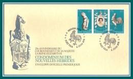 N. Hébrides FDC Couronnement S.M. Elizabeth II 1978 Coq Cheval Horse Tryptique - FDC