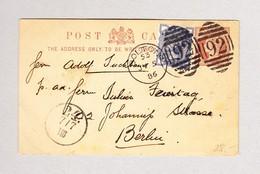 GB BOLTON 5.7.1886 #92 Halfpenny Ganzsache Mit Halfpenny Zusatz Gesendet Nach Berlin - 1840-1901 (Victoria)