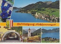 ST. WOLFGANG - Salzkammergut, Mehrbildkarte, Luftbild, Hotel Weisses Rössl, Enzian - St. Wolfgang