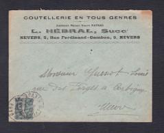 Semeuse 130 Courrier Coutellerie Anc. Maison Vve Matras , Hebral Succ. Nevers  Vers Corbigny Nievre - Postmark Collection (Covers)