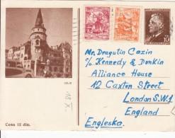 JUGOSLAVIJA YUGOSLAVIA DOPISNICA CARTE POSTALE ILLUSTRATED CARD 1957 CELJE  SLOVENIJA - ENGLAND - Ganzsachen