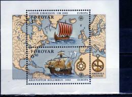 FAEROER FAROE ISLANDS Féroé Faroer Føroyar 1992 EUROPA CEPT UNITA BLOCK SHEET BLOCCO FOGLIETTO MNH - Färöer Inseln