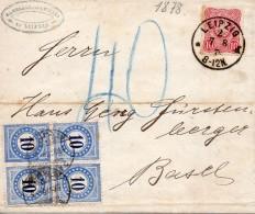 Allemagne Lettre Leipzig Taxée En Suisse 1878 - Deutschland