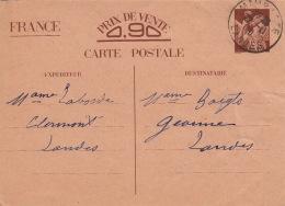 Entier Iris Mimbaste Landes 1940 - Entiers Postaux