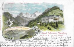 ABENDBERG → Hôtel Belle-Vue 1139 M.ü.M. Mehrbild-Litho 1904  ►mit Hotelstempel◄ - BE Berne