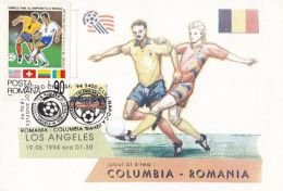 46617- USA'94 SOCCER WORLD CUP, COLOMBIA-ROMANIA GAME, MAXIMUM CARD, 1994, ROMANIA - World Cup