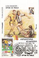 46619- USA'94 SOCCER WORLD CUP, ARGENTINA-ROMANIA GAME, MAXIMUM CARD, 1994, ROMANIA - World Cup