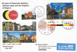 BELGIQUE-JAPON (150 Ans Des Relations Diplomatiques), Adressée Andorre, Avec Timbre à Date Arrivée - 1989-... Emperor Akihito (Heisei Era)