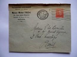 Lettre à  En-tête - Patisserie-confiserie MAISON MICHEL TOUZAC à REIMS - 1932- Timbre Semeuse 50c - 1921-1960: Période Moderne
