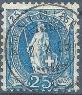 Stehende Helvetia 87A, 25 Rp.blau  MONTMIRAIL        1904 - 1882-1906 Armoiries, Helvetia Debout & UPU