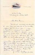 """1938 - CHERBOURG (50) - Lettre à L'entête """"R.M. S"""" QUEEN MARY"""" - Lettre Amicale - Enveloppe Jointe - - Documents Historiques"""