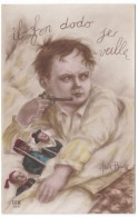 'Il Fon Dodo Je Veille' Beerts Artist Signed 'I Stay Awake To Protect My Toys'(?) France Politic C1910s Vintage Postcard - Satirical
