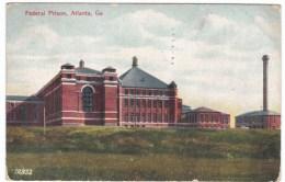 US Federal Prison In Atlanta Georgia, C1900s Vintage Postcard Sent Georgia To Alaska Territory - Prison
